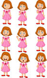 Little girl in various expression isolated on white background Royalty Free Stock Image