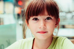Little girl. Very cheerful girl in summer Stock Image