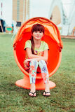 Little girl. Very cheerful girl in summer Stock Images