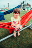 Little girl. Very cheerful girl in summer Royalty Free Stock Images
