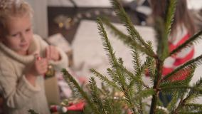 Two girls decorate a Christmas tree and talk stock video footage