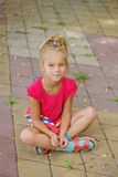 Little girl in vest near resort's pool Royalty Free Stock Photography