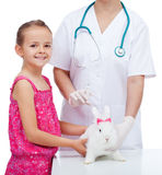 Little girl at the veterinary with her cute white rabbit stock image