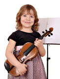 Little girl with violin Stock Photos