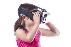 Little girl with virtual reality glasses Royalty Free Stock Images