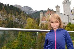 Little girl visiting a castle Stock Photo
