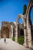 Little girl in Bellapais Abbey in North Cyprus, Kyrenia stock photography