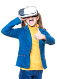 Little girl in VR glasses Stock Photography