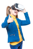 Little girl in VR glasses Royalty Free Stock Image