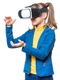 Little girl in VR glasses Royalty Free Stock Photography
