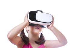 Little girl with VR glasses Stock Photos