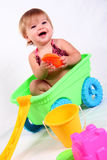 Little Girl in Wagon Laughing Stock Image
