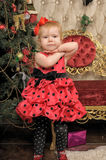 A little girl waiting for Christmas Royalty Free Stock Images