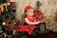 A little girl waiting for Christmas Royalty Free Stock Photography
