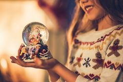 Little girl waiting for Christmas Royalty Free Stock Photos
