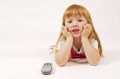 Little girl waiting for phone Stock Photography