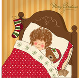 Little girl waiting for Santa Royalty Free Stock Images