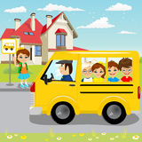 Little girl waiting for schoolbus on bus stop. To ride to school Stock Images