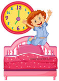Little girl waking up from the bed Royalty Free Stock Photo