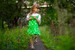 Little girl walk in green garden in summer day. Little girl walk in green garden in sunny summer day stock photography