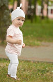 The little girl is walking Royalty Free Stock Photos