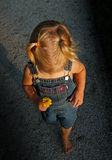 Little Girl Walking. A little girl holding a flower walking down a path Royalty Free Stock Photography