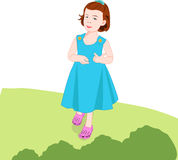 Little girl walking. In garden, illustration Stock Images
