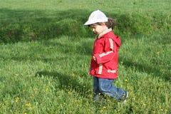 Little girl is walking Stock Image