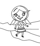Little girl walking coloring page Royalty Free Stock Image