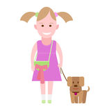 Little girl walking a dog Stock Image