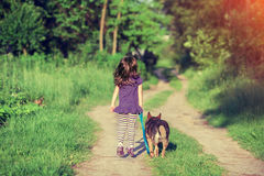 Little girl walking with dog Stock Images