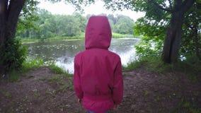 Little girl walking. stock footage
