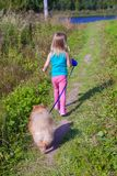 Little girl walking with her ??dog on a leash Stock Photography
