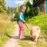 Little girl walking with her ??dog on a leash Stock Photos