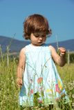 Little Girl Walking on Meadow. Little Curly Girl Walking on Green Meadow Stock Image