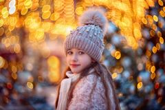 Little Girl Walking On Night City Royalty Free Stock Images