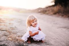 Little girl walking Royalty Free Stock Images