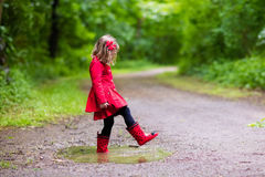 Little girl walking in the rain Royalty Free Stock Photo
