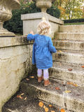 little girl walking up steps in the fall royalty free stock photos
