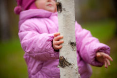 Little girl walking in the woods Stock Photos