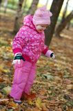 Little girl walks in autumn Stock Photo