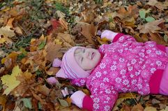 Little girl walks in autumn Royalty Free Stock Photography