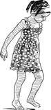 Little girl walks barefoot Royalty Free Stock Image