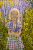 Little girl walks on blossoming meadow Stock Photography