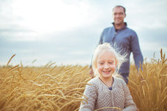 A little girl walks with his father on a yellow agricultural field Royalty Free Stock Images