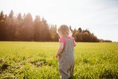 Little girl walks in the park Stock Image