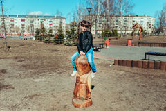 Little girl. Girl walks in the park on a sunny day Stock Images