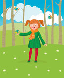 Little girl walks in the spring forest and feeds the birds. Vector cartoon illustration Royalty Free Stock Images