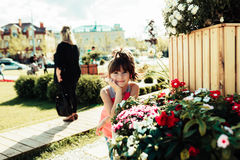 Little girl. Walks in summer city Royalty Free Stock Photos