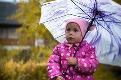A little girl walks with an umbrella in the rain in the country. stock photo